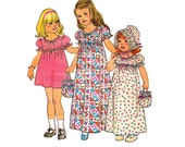 70s Simplicity 7275 Toddler Girls Maxi Dress Bonnet Bag Holly Hobbie Style Vintage Sewing Pattern Size 4 Breast 23 inches