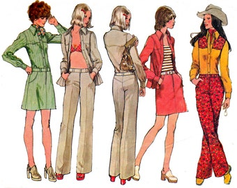70s Western Shirt or Jacket Mini Skirt Hip Hugger Jeans pattern Simplicity 5517 Vintage Sewing Pattern Size 12 Bust 34 inches