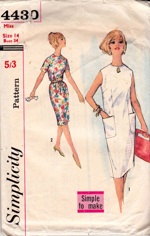 60s Easy Shift Dress Pattern Simplicity 4430 Vintage Sewing - photo#1