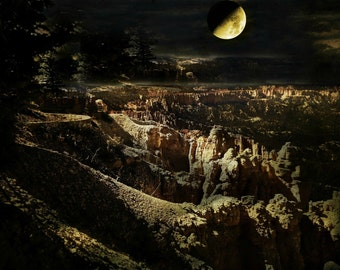 Harvest Moon Over Canyons. Bryce Canyons. Autumn Moon. Blood Moon. Midnight. Photography Digital Download