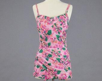 1950s Swimsuit, Vintage 50s Floral Bathing Suit, One Piece Pin Up Sarong Swim Suit, Lee Swimplay Suits, M / L