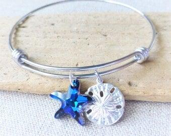 Beach Bracelet, Adjustable Bangle Bracelet, Sand Dollar Charm, Swarovski Ocean Bermuda Blue Crystal Starfish, Stainless Steel, Beach Jewelry