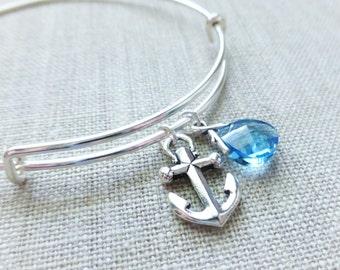 Anchor Charm Adjustable Bangle Bracelet, Swarovski Ocean Aquamarine Blue Crystal Charm, Silver Jewelry, Nautical Bracelet, Beach Jewelry