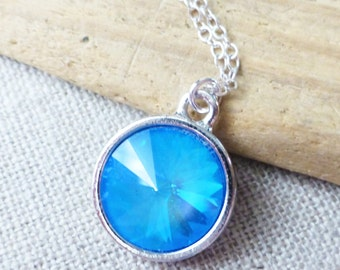 Ocean Blue Crystal Necklace, Swarovski Necklace, Rivoli Necklace, Aqua Pendant, Sky Blue Necklace, Circle Pendant, Gifts for Her, Christmas