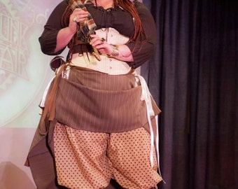 """Cream with brown plaid hitcher skirt and bolero 30"""" long steampunk, cosplay, lolita"""
