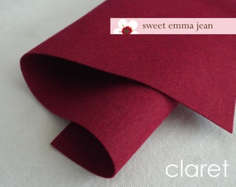 Wool Felt 1 yard cut - Claret - wine colored wool blend felt