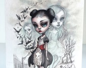 A Girl and Her Ghosts - signed 4 x 5.75 Mini Art Print by Mab Graves - unframed