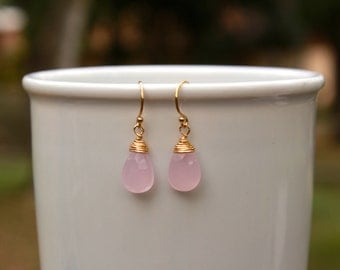 Pink Chalcedony Earrings, Wire Wrapped, Pink Gemstone Earrings, Minimalist, Drop Earrings, Pink Earrings, Simple, Lightweight