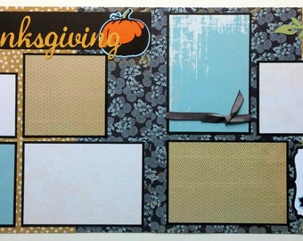 Thanksgiving premade scrapbook page - 12x12 premade scrapbook page - Premade scrapbook layout - Premade scrapbook page Thanksgiving