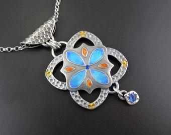 Majorellica Silver and Enamel pendant - handmade OOAK statement piece - on sterling silver chain