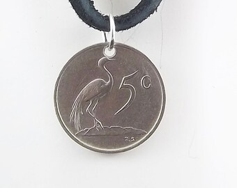 South Africa Coin Necklace, 5 Cent, Coin Pendant, Bird Coin, Handmade, Leather Cord, Mens Necklace, Womens Necklace, 1968