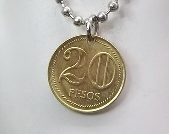 Coin Necklace, Colombia 20 Pesos, Ball Chain, Coin Pendant, Men's Necklace, Women's Necklace, 2005