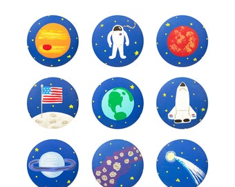 Hand Painted Knob - Children's Custom Hand Painted Space Shuttle Astronaut Children's Drawer Knobs Pulls or Nail Covers for Kids