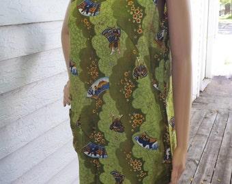 60s Resort Dress Hookano Hawaiian Green Print Hawaii Sleeveless XL Vintage 1960s