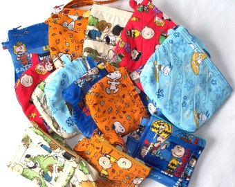 Charlie Brown & Snoopy Peanuts Quilted Wristlet,Cosmetic Bag,Coin Purse,ID Lanyard Coin Purse Set,Your Choice Charles Shultz Linus,Lucy,Fall