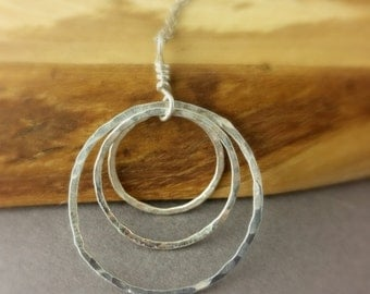 3 Circle Necklace, Hammered Circle Necklace, Sterling Silver Hammered Circle Necklace