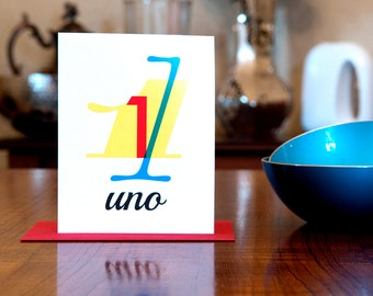 Uno - Number One (1) Bilingual Birthday or Anniversary Card in Red, Yellow and Blue on 100% Recycled Paper