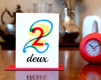 Deux - Number Two (2) Bilingual French Birthday or Anniversary Card in Red, Yellow and Blue