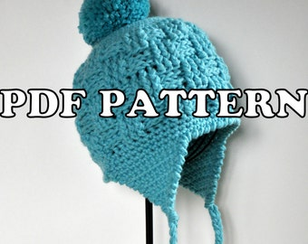 PDF PATTERN - Basketweave Earflap Hat