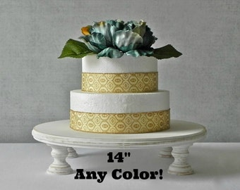 """14"""" inch Rustic Cake Stand ANY COLOR Whitewash Wedding Decor Country Vintage Wedding E Isabella Designs Featured In Martha Stewart Weddings"""