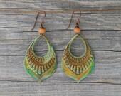 GRAND CANYON. Patina brass teardrops with orange aventurine earrings.