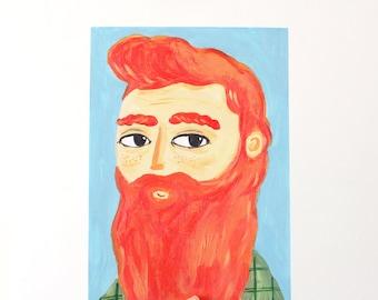 A4 Giclee Art Print - Bearded Man in Ginger
