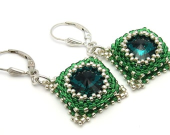 Emerald earrings - green earrings - emerald crystal earrings - beaded earrings - Swarovski crystals - bead woven earrings - beadwork earring
