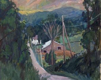 Falling Light, Berkshires. Large Oil Painting Landscape, 28x22 American Impressionist Plein Air Oil on Canvas, Signed Original Fine Art
