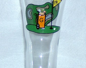 Golfing Pilsner Glass / Beer Glass Hand Painted