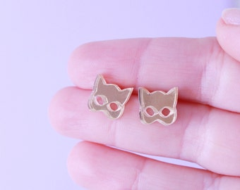 gold jewelry. cat earrings. cat jewelry. gift for her. cat lover gifts. stud earrings. handmade earrings. gold earrings. statement jewelry