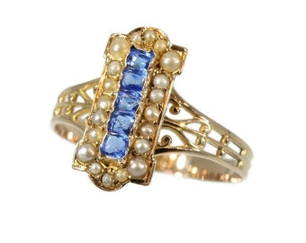 Antique Blue Paste Stone Pearl Ring - Victorian ring 18K red gold carre cut paste stones half seed pearls c.1880