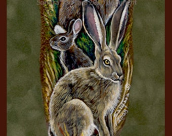 Rabbit Bunny Totem Feather Print