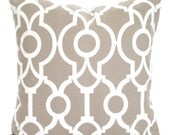 Taupe Tan Pillow Covers, Decorative Pillows, Tan Cushions, Ecru Taupe Tan White Geometric Pillows, Lyon Backdrop, Euro Sham, One ALL SIZES