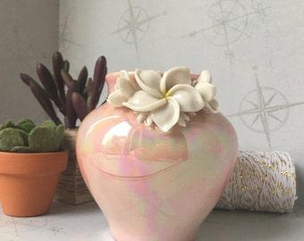 Iridescent, oil glazed vase