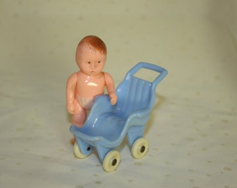 Baby Stroller by ACME Made in the USA Vintage for dollhouses Playtime take babies for a stroll Miniature Stroller for Baby Doll Blue Plastic