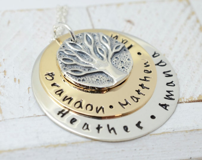 Personalized Ancient Family Coin Handmade Necklace - Stamped Metal Family Tree Jewelry - Kids Names Gift for Grandma Nana Mom - Mother's Day