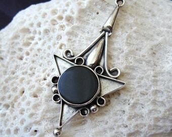 Vintage Sterling Silver Black Onyx Pendant - Geometric Vintage Jewelry - 925
