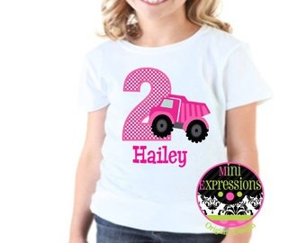 Pink Dump Truck Birthday shirt Personalized