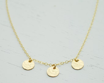 Three Gold Discs Necklace - small round hammered gold filled tiny dots charm dainty handmade - simple everyday or wedding jewelry