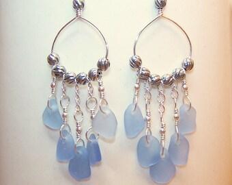 Genuine Sea Glass Earrings Cornflower Blue Sterling Silver Dangle Beach Glass Earings for Women Seaglass Jewelry Canada Beach Earrings