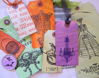 handmade gift tag bundle - HALLOWEEN - witch, skeleton, happy halloween, skull and crossbones, jack o'lantern, chandelier