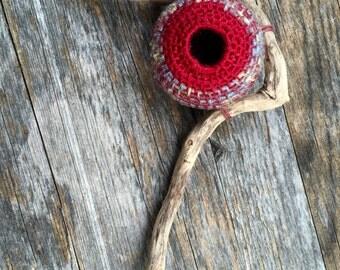 Small Wall Sculpture - Bird Nest Sculpture - Mixed Media One-of-a-kind Driftwood Art