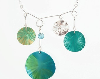 Water Lilies Necklace – Silver and Anodized Aluminum Bib Necklace