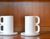 vintage white heller massimo vignelli coffee cups with saucers