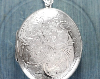 Vintage Sterling Silver Locket Necklace, Extra Large Oval Picture Pendant 1972 UK Hallmarks - Cascading Swirls