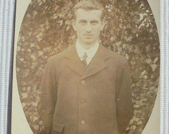 Vintage/Antique English Photo - Man Stood Outside