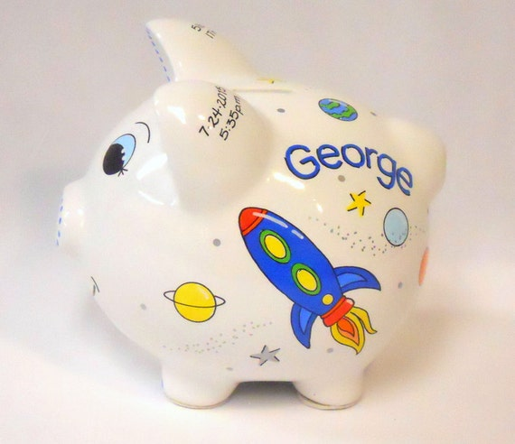 Personalized piggy bank rocket ships in space red yellow blue - Rocket ship piggy bank ...