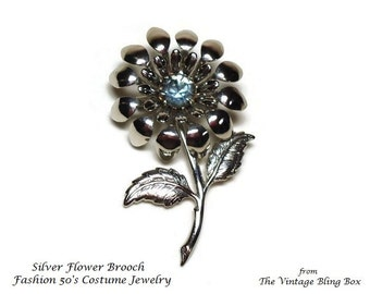 """2.25"""" Silver Flower Brooch with Prong Set Blue Topaz Chaton Cut Rhinestone Crystal in Figural Motif - Vintage 50's Floral Costume Jewelry"""