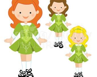 Irish Dancer Cute Digital Clipart, commercial, Riverdance Graphics, Irish Dancing Girl Clip art, Dancer Illustration, st patricks day, #071