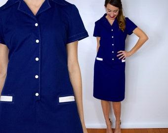 60s Navy Blue Shift Dress | Short Sleeve Mod Dress, Large
